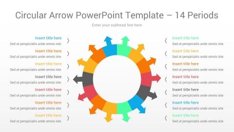 Circular Arrow PowerPoint Template 14 Periods