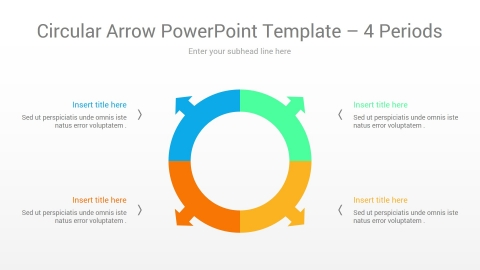 Circular Arrow PowerPoint Template 4 Periods