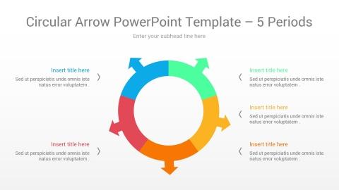 Circular Arrow PowerPoint Template 5 Periods