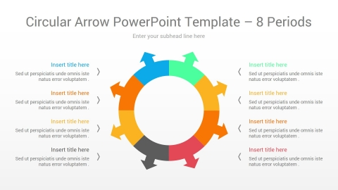Circular Arrow PowerPoint Template 8 Periods