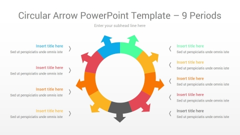 Circular Arrow PowerPoint Template 9 Periods