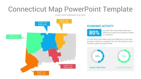 Connecticut map powerpoint template