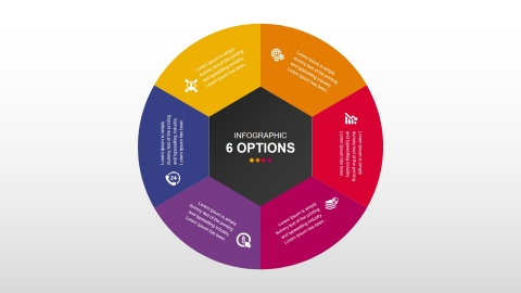 Free CIRCULAR Infographic with 6 periods for Business PowerPoint presentations