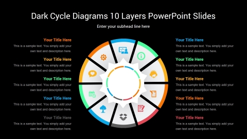 Dark Cycle Diagrams 10 Layers PowerPoint Slides