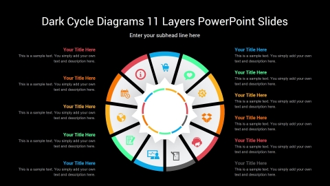 Dark Cycle Diagrams 11 Layers PowerPoint Slides