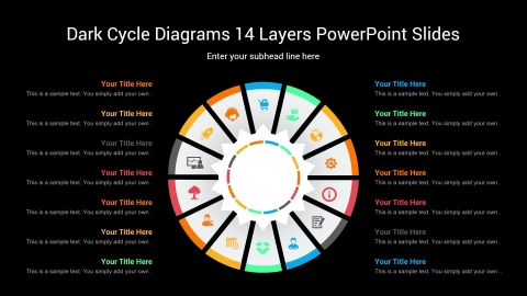 Dark Cycle Diagrams 14 Layers PowerPoint Slides