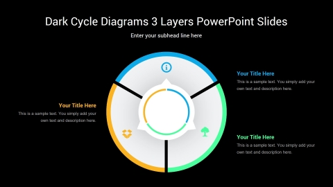 Dark Cycle Diagrams 3 Layers PowerPoint Slides