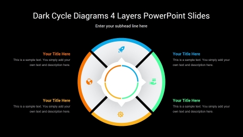 Dark Cycle Diagrams 4 Layers PowerPoint Slides