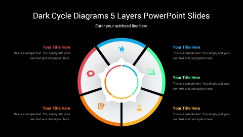 Dark Cycle Diagrams 5 Layers PowerPoint Slides