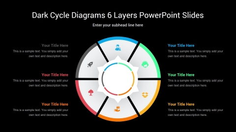 Dark Cycle Diagrams 6 Layers PowerPoint Slides
