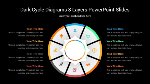 Dark Cycle Diagrams 8 Layers PowerPoint Slides
