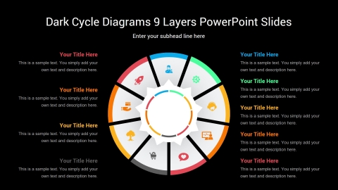 Dark Cycle Diagrams 9 Layers PowerPoint Slides