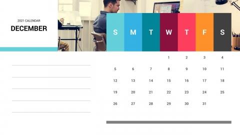 December 2021 Calendar Free PPT Template