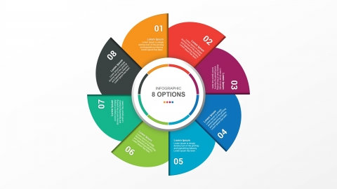 Free Colorful Circle Infographic With 8 Steps For PPT Template and Google Slides