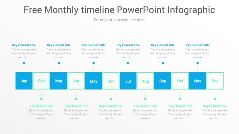 Free Monthly timeline PowerPoint Infographic