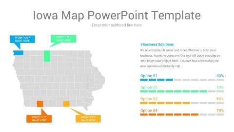 Iowa map powerpoint template