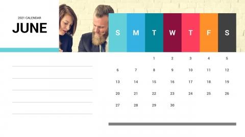 June 2021 Calendar PPT Template