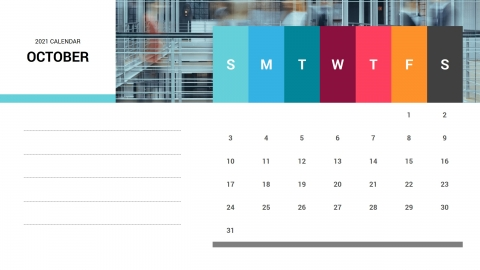 October 2021 Calendar Free PPT Template