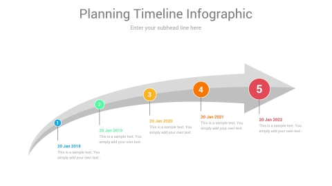 Planning Timeline PowerPoint Arrow Infographic