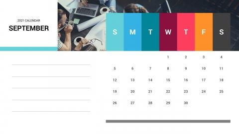 September 2021 Calendar Free PPT Template