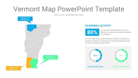Vermont map powerpoint template