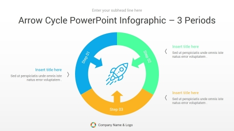 arrow cycle powerpoint infographic 3 periods