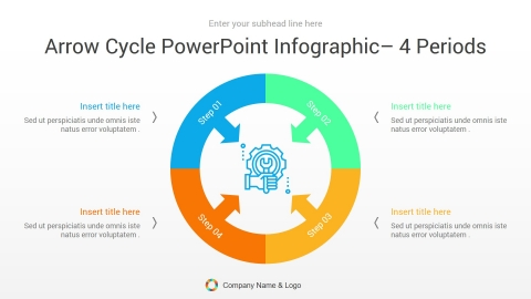 arrow cycle powerpoint infographic 4 periods