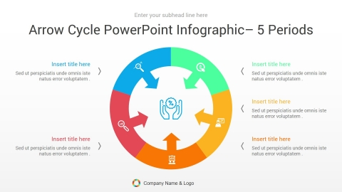 arrow cycle powerpoint infographic 5 periods