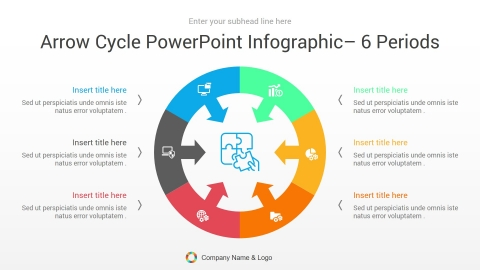arrow cycle powerpoint infographic 6 periods