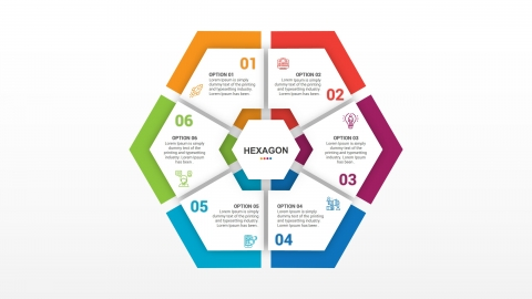 Best Hexagon With Six Options PowerPoint Infographic Template