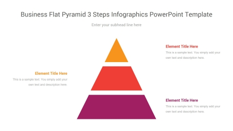 business flat pyramid 3 steps infographics powerpoint template