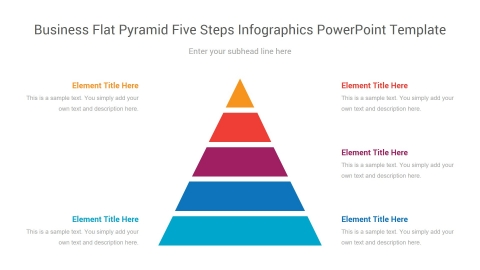 business flat pyramid five steps infographics powerpoint template