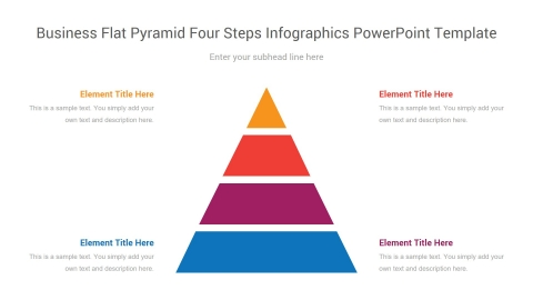 business flat pyramid four steps infographics powerpoint template