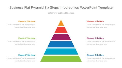business flat pyramid six steps infographics powerpoint template
