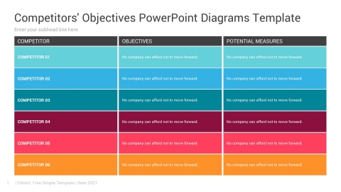 Competitors' Objectives PowerPoint Diagrams Template