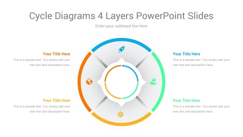 Cycle Diagrams 4 Layers PowerPoint Slides