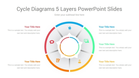 Cycle Diagrams 5 Layers PowerPoint Slides