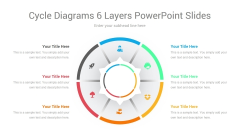Cycle Diagrams 6 Layers PowerPoint Slides