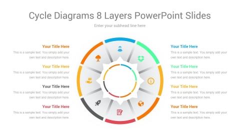 Cycle Diagrams 8 Layers PowerPoint Slides