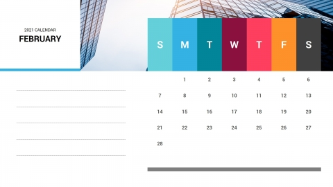 February 2021 Calendar PowerPoint Template
