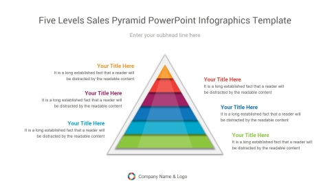 five levels sales pyramid powerpoint infographics template