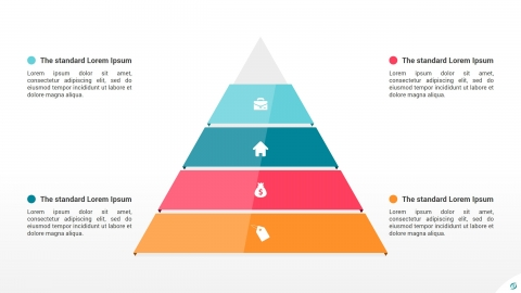 Flat Pyramid 4 Levels PowerPoint Infographics