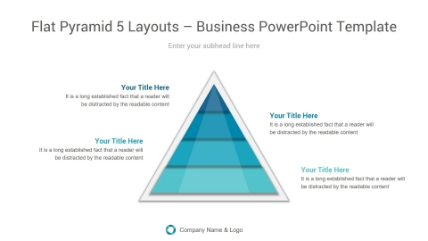 flat pyramid 5 layouts business powerpoint template