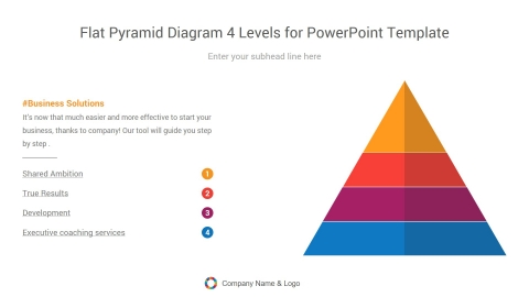 flat pyramid diagram four levels for powerpoint template