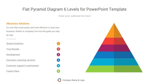 flat pyramid diagram six levels for powerpoint template