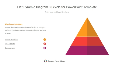 flat pyramid diagram three levels for powerpoint template