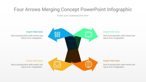 four arrows merging concept powerpoint infographic