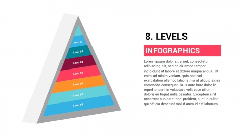 Free 3D Pyramid With 8 Levels PPTX Infographic