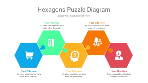 Free Hexagons Puzzle PowerPoint Template Diagrams