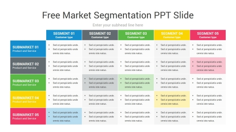 Free Market Segmentation PPT Slide